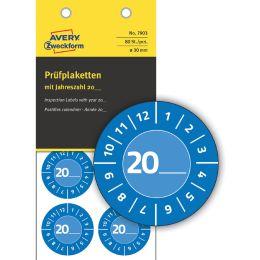 AVERY Zweckform Prüfplaketten zum Selbsteintragen 20XX, blau