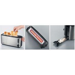 SEVERIN Langschlitz-Toaster AT 2515, Edelstahl / schwarz