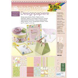 folia Designpapierblock Frühjahr/Ostern, DIN A4, 12 Blatt