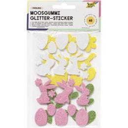 folia Moosgummi Glitter-Sticker Frühling