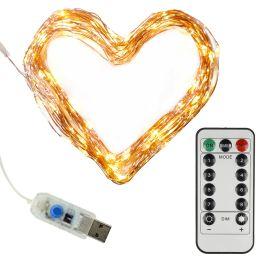 Clauss LED-Mini-Lichterkette, USB-Anschluss & Fernbedienung