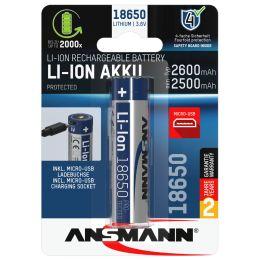 ANSMANN Li-Ion Akku 18650 mit Micro-USB Kupplung, 2.600 mAh