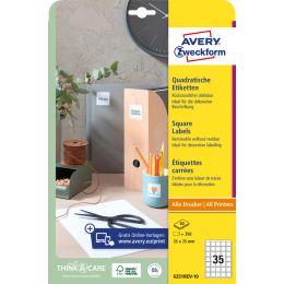 AVERY Zweckform Kennzeichnungs-Etiketten, 35 x 35 mm, weiß