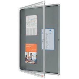 nobo Schaukasten Premium Plus, Filz-Rückwand, 9 x A4, grau