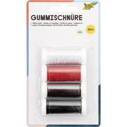 folia Gummischnüre BASIC, 4 Farben à 5 m sortiert
