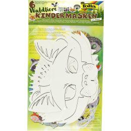 folia Kindermasken Waldtiere, aus Pappe, weiß