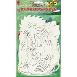 folia Kindermasken Exotische Tiere, aus Pappe, weiß