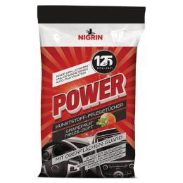 NIGRIN POWER Kunststoff-Reinigungstücher, 15 Stück