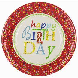 PAPSTAR Papp-Teller Happy Birthday, rund, 230 mm