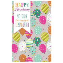 SUSY CARD Geburtstagskarte bunte Luftballons