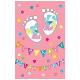 SUSY CARD Geburtskarte Mädchen Konfetti Füße