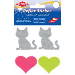 KLEIBER Reflex-Sticker Katzen & Herz, silber/gelb