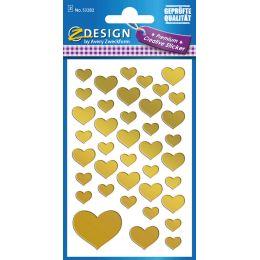 AVERY Zweckform ZDesign CREATIVE Sticker Herzen, gold