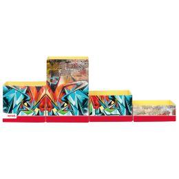 ROTH Multiköcher-Set Graffiti, aus Karton, 4 Fächer