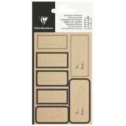Clairefontaine Geschenke-Sticker Rechteck Kraft, schwarz