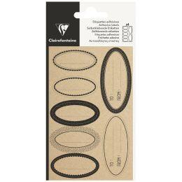 Clairefontaine Geschenke-Sticker Oval Kraft, schwarz