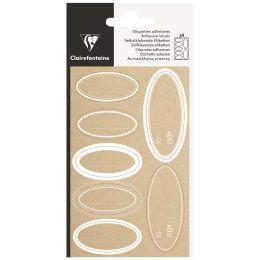 Clairefontaine Geschenke-Sticker Oval Kraft, weiß