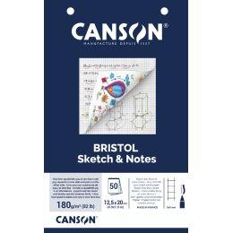 CANSON Karteikartenblock BRISTOL Sketch & Notes,125 x 200 mm