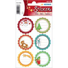 HERMA Weihnachts-Sticker DECOR Weihnachtsgrüße, beglimmert