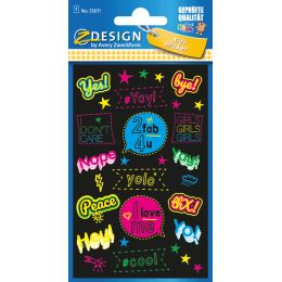 AVERY Zweckform ZDesign KIDS Neon-Sticker Sprüche
