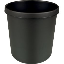 helit Papierkorb, schwer entflammbar, 12 Liter, PP, schwarz