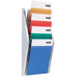 helit 4er Wand-Prospekthalter the arc, DIN A4 hoch, silber