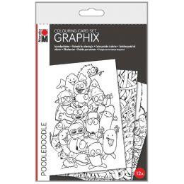 Marabu Ausmalkarten GRAPHIX, Poodledoodle