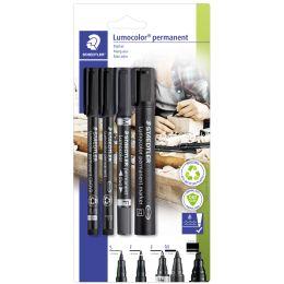 STAEDTLER Lumocolor Permanent-Marker-Set, 4-teilig, schwarz