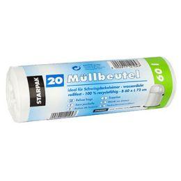 PAPSTAR Mülleimerbeutel LDPE, 60 Liter, weiß