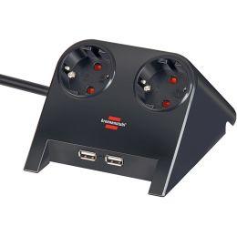 brennenstuhl Tischsteckdose Desktop-Power, 2-fach, 2 x USB