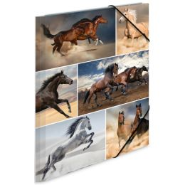 HERMA Eckspannermappe Pferde, aus Karton, DIN A3