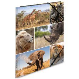 HERMA Eckspannermappe Afrika Tiere, aus Karton, DIN A4