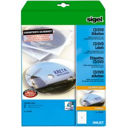 sigel CD/DVD-Etiketten, weiß, spezialbeschichtet, matt
