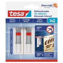 tesa Powerstrips Klebeschraube für Fliesen/Metall, weiß