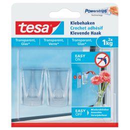 tesa Powerstrips Klebehaken für Glas, transparent