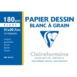 Clairefontaine Zeichenpapier Blanc à Grain, 210 x 297 mm