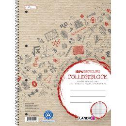 LANDRÉ Collegeblock Recycling DIN A4+, kariert, 80 Blatt