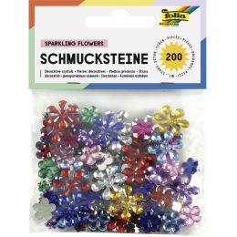 folia Schmucksteine Blumen, Größen und Farben sortiert