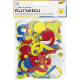 folia Bastelfilz-Stanzteile Zahlen, selbstklebend