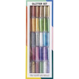 folia Glitterpulver-Set, 30 Dosen à 3 g, farbig sortiert