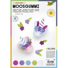 folia Glitter-Moosgummi, 200 x 290 mm, 5 Blatt, sortiert