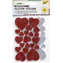 folia Moosgummi Glitter-Sticker, Herzen rot / silber