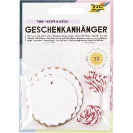 folia Geschenkanhänger rund, natur & weiß, inkl. Schnur