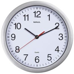 MAUL Wanduhr/Quarzuhr MAULrun, Durchmesser: 250 mm, silber