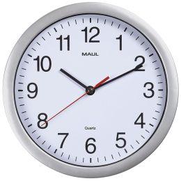 MAUL Wanduhr/Funkuhr MAULrun, Durchmesser: 250 mm, silber
