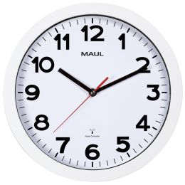 MAUL Wanduhr/Funkuhr MAULstep, Durchmesser: 300 mm, weiß