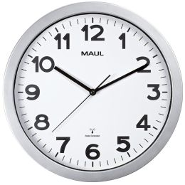 MAUL Wanduhr/Funkuhr MAULstep, Durchmesser: 350 mm, silber