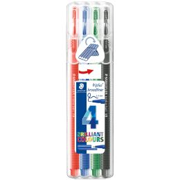 STAEDTLER Fineliner triplus broadliner BRILLIANT COLOURS,4er