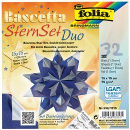 folia Faltblätter Bascetta-Stern, 150 x 150 mm, blau/silber
