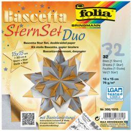 folia Faltblätter Bascetta-Stern, 150 x 150 mm, silber/gold